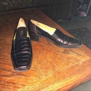 Rangoni Faux Croc Brn Leather Loafers, Sz 9.5AA